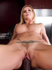 Blonde busty mom Brooke Tyler riding monster black cock and get cum on tits