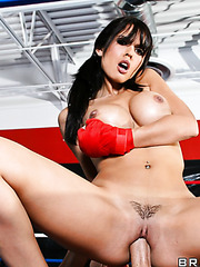 Fascinating milf Shy Love enjoying her friend's dagger after boxing