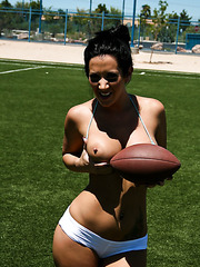 Hot football player Jayden Jaymes showing big tits and getting drilled