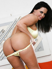 Glamorous milf Maya Devine posing in sexy lingerie and rubbing boobs