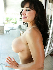 Brave milf Lisa Ann invited her neighbor and got a cumshot at the end