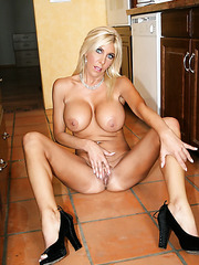 Wonderful milf babe Misty Vonage is posing absolutely naked in the kitchen