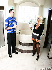 Hot office milf babe Britney O'Neil is pleasing her harsh boss on camera