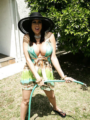 Ravishing milf pornstar Sheila Marie working with her big boobs like a goddess