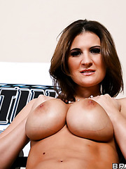 Ardent milf Austin Kincaid playing with big tits and stripping all day long