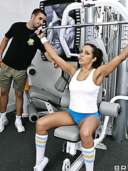 Spicy whore Francesca Le enjoying her friend's big cock right in the gym