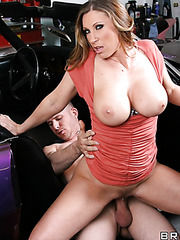Fascinating whore Devon Lee using big tits to seduce and fuck bad boys
