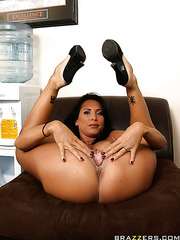Curious milf Lezley Zen working with her wet sissy and waiting for a big cock