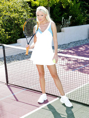 Breathtaking pornstar Diana Doll playing tennis and showing big tits