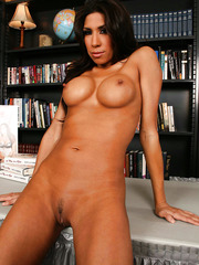 Sparkling brunette Kayla Carrera posing in her favorite panties and showing boobs