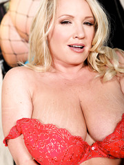 Gorgeous fatty Rachel Love stripping in red lingerie and teasing big tits