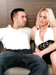 Slutty mom Angela Attison likes to get cumshots from handsome fellows