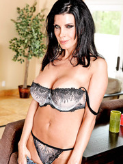 Dark-haired Shay Sights takes off panties and starts doing bad things