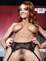 Sexy pornstar Janet Mason showing hairy pussy and delicious round ass