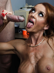 Mature slut Janet Mason swallowing a big cock and getting pounded in ass