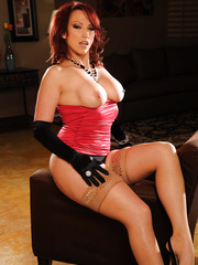 Striptease with busty milf Nicki Hunter in super hot stockings