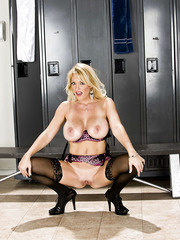 Elegant blonde milf on sexy lingerie and high heels Charlee Chase