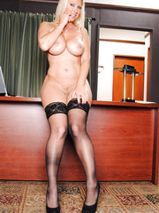 The hottest and most fascinating office-bearer Devon Lee shows off her treasures