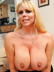 Super buxom blonde milf Karen Fisher rides big cock like an ambitious schoolgirl