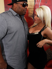 Sweet blonde milf pornstar Jacky Joy love sucking and riding big black cock