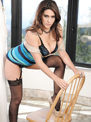 Pure sexuality by charming brunette milf in sexy lingerie Raylene