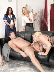 Appetizing blonde milf Karen Fisher fucked in front of her colleagues