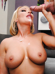 Delicious blonde milf with tasty big tits Mellanie Monroe takes huge cock