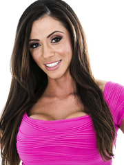 Busty brunette with beautiful smile Ariella Ferrera takes off bra and panties