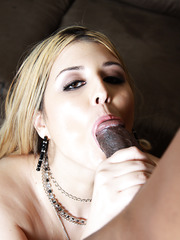 Blonde fat mom Athena Pleasures sucking and riding huge black dick