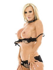 Glamorous goddess with sexy blonde hair and big tits Amber Lynn poses sweet
