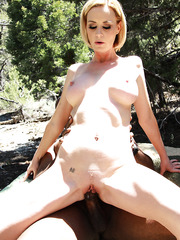 Sexy blonde mom Camryn Cross fuck with black guy outdoor and get messy cumshot