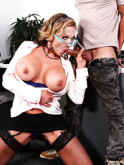 Busty Nikki Sexx tests his big cock at the audition right in her office