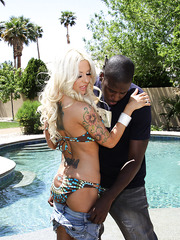 Two hot pornstars Angelina Castro and Hellie Mae Hellfire fuck ebony guy at the pool with double cocksucking