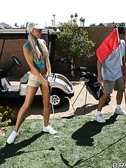 Charming blonde hottie with big tits Tanya James fucked playing golf