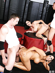 Super sweet brunette milfs Claire Dames and Dylan Ryder fucked by two boyfriends