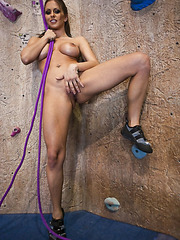 Milf with big round tits Rachel RoXXX enjoys wall climbing and dick riding