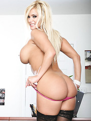 Stunning and glamorous bombshell Shyla Stylez strips with passion