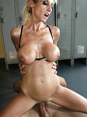 Horny pilates instructor Regan Anthony gets a huge cock in the sweet holes
