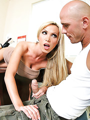 Nasty blonde milf Nikki Benz gets a big cock in the shaved pussy