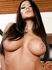 Stunning brunette babe Jenaveve Jolie surprises with her big tits and shaved pussy