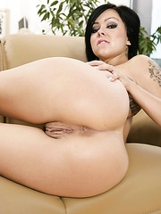 What about hot brunette babe Julia Bond and her sweet curvy tattooed body