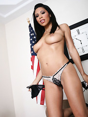 Ambitious business lady Cassandra Cruz shows off her charms in the office