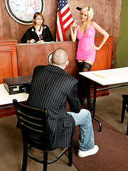 Horny milf Jenny Hendrix fucking hard with big dicked bald man right in the court