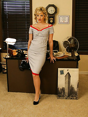 Elegant and sexy blonde milf Alexis Texas gets naked in her husband's office