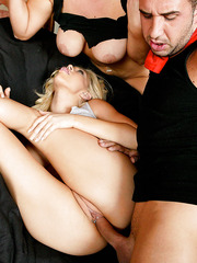 Busty blonde sluts Abbey Brooks and Kagney Linn Karter meet big cock