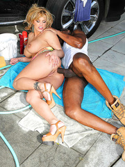 Naughty milf Shyla Stylez takes a huge black dick in her charming asshole