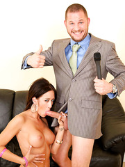What about amazing milf Capri Cavanni fucking with her boss at the leather sofa