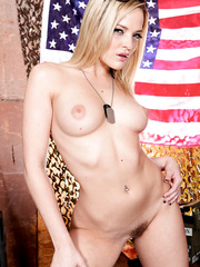 Horny and naughty milf blonde waits for a huge soldier in her shaved pussy