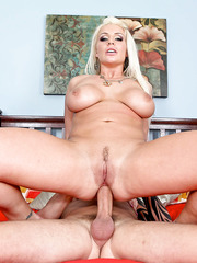 Horny blonde milf with big boobs Sadie Swede facialized after hot fuck