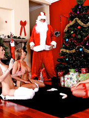 Horny Christmass with lucky Santa and sweeties Alanah Rae, Jessica Jaymes and Kortney Kane